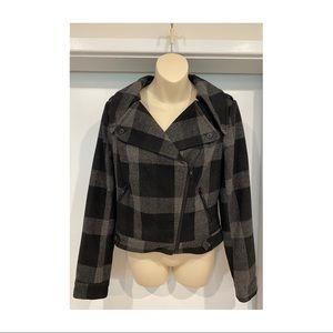 Just Jeans Plaid wool blend crop biker coat lined